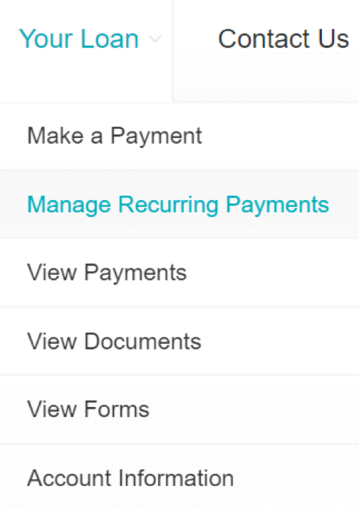 your loan drop down with manage recurring payments