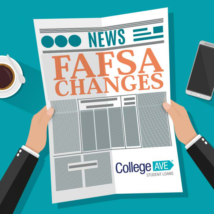 Clipart of a cartoon newspaper being read by a cartoon person. The newspaper headline reads FAFSA CHANGES and has College Ave Student Loans logo on the bottom right of the paper.