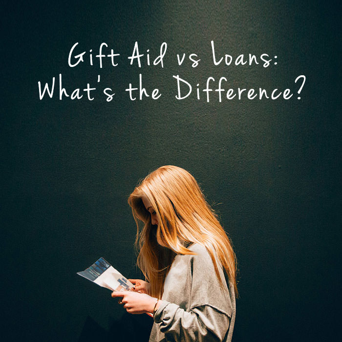Photo of a woman under a light with text above her that reads - Gift aid vs loans: what is the difference?
