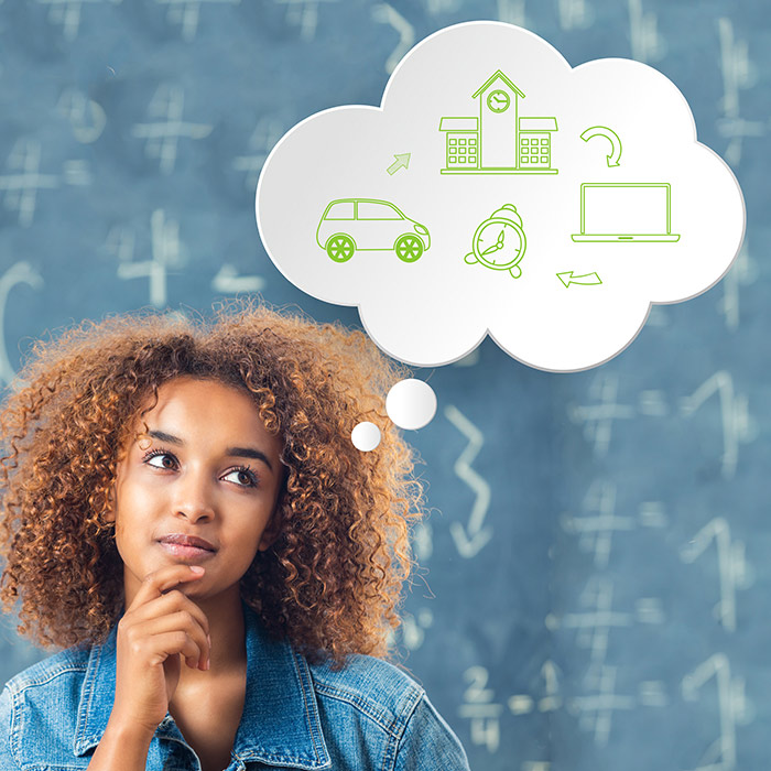 Photo of a woman with a thought bubble over her head that shows a car pointing to a school, pointing to a laptop, pointing to a clock, next to the original car.