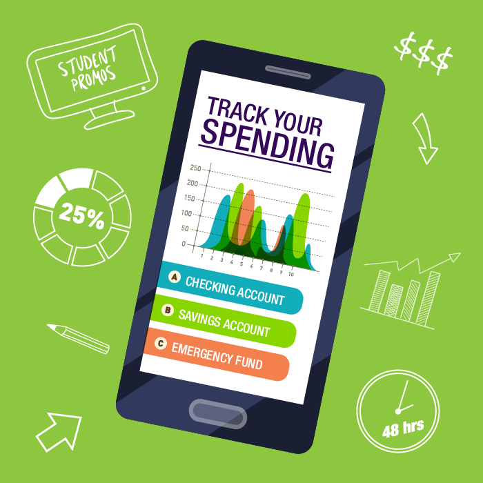 Clipart of a mobile phone or tablet with the words track your spending showing a graph noting - A, checking account, B, savings account, C, Emergency Fund.