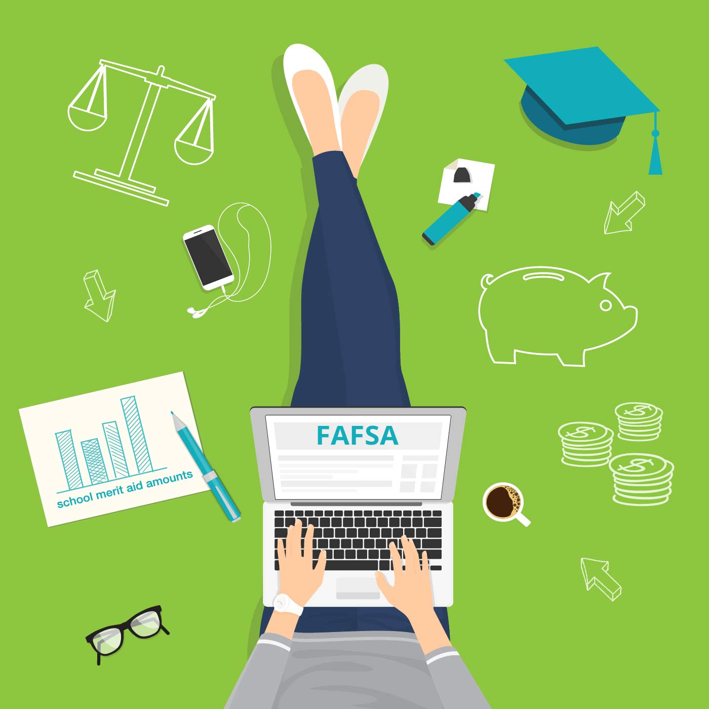 Clipart of a person working on a laptop, their screen says FAFSA