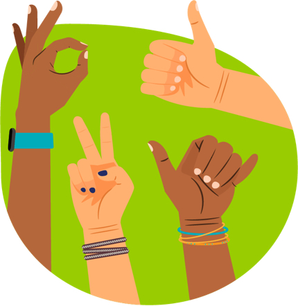 four hands giving the O.K. symbol, thumbs up, peace, and hang ten.