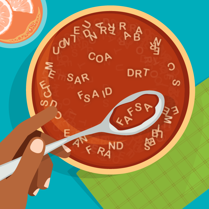 a bowl of alphabet soup with fafsa spelled out with the letters
