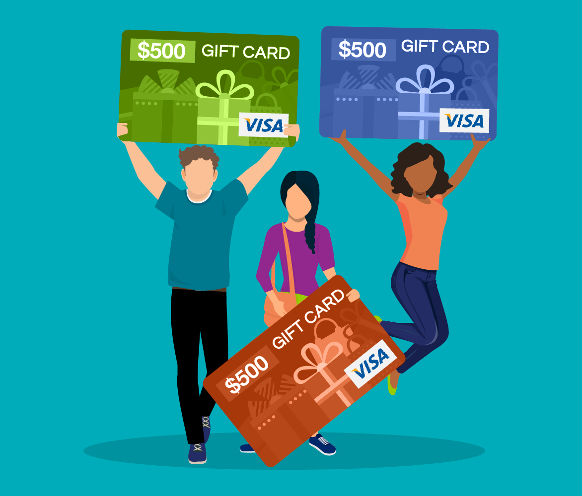 three people holding up giant $500 Visa gift cards